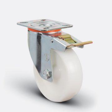 Колесо нейлоновое поворотное с тормозом 200 мм ( EM01 ZKZ 200 F )