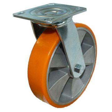 Колесо  б/г полиуретан. поворот., алюминий 200 мм