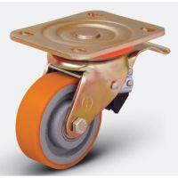 ED01 VBР 100F Большегрузная поворотная колесная опора, полиуретан, обод-чугун, с торм.