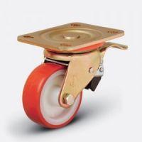 Колесо сверхмощное полиуретановое поворотное с тормозом 100 мм (ED01 ZBP 100 F), диск-полиамид