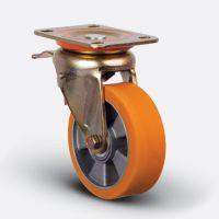 Колесо полиуретановое поворотное с тормозом 200 мм (ED01 ABP 200 F), диск алюминий