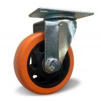 Поворотное колесо оранжевая резина 100 мм двойной шариковый подшипник нагруз. 125 кг