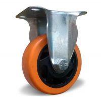 Неповоротное колесо оранжевая резина 100 мм двойной шариковый подшипник нагруз. 125 кг
