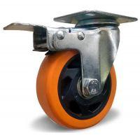 Поворотное колесо с торм. оранжевая резина 100 мм двойной шариковый подшипник нагруз. 125 кг