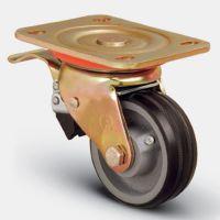 Колесо большегрузное обрезиненное поворотное с тормозом 100 мм ( ED01 VBR 100 F), диск-чугун