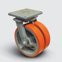 Колесо полиуретановое сдвоенное поворотное 250 мм ( EW01 VBP 250 ), диск-чугун