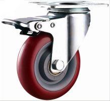 Колесо полиуретановое поворотное с тормозом 100 мм, диск - полипропилен (Medium)