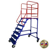 Лестница передвижная разборная ЛР 6.1, колеса из литой серой резины