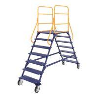 Лестница передвижная разборная ЛР 6.2, колеса из литой серой резины