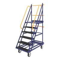Лестница сварная передвижная ЛС 6 (670х1390х2150мм) 6 ступеней, колеса из литой черной резины
