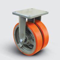 Колесо полиуретановое сдвоенное неповоротное 350 мм ( EW02 VBP 350 ), диск-чугун