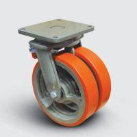 Колесо полиуретановое сдвоенное поворотное с тормозом 250 мм ( EW01 VBP 250 F ), диск-чугун
