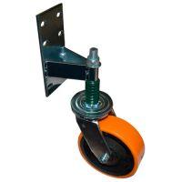 Колесо опорное для гаражных ворот с пружиной поворот. 160 мм б/г полиуретановое
